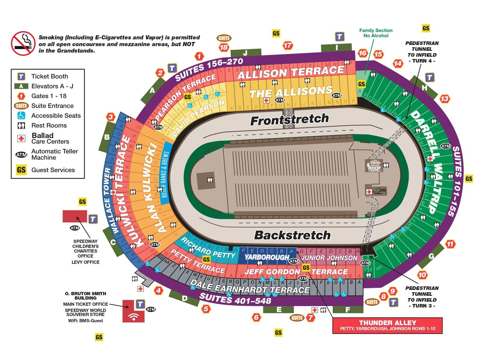 Bristol Motor Speedway Seating Chart with Row Numbers, ticket booth, elevators, entry gates, suites, rest rooms, ballad, ATM, guest services, start-finish line, alcohol zone, grandstand