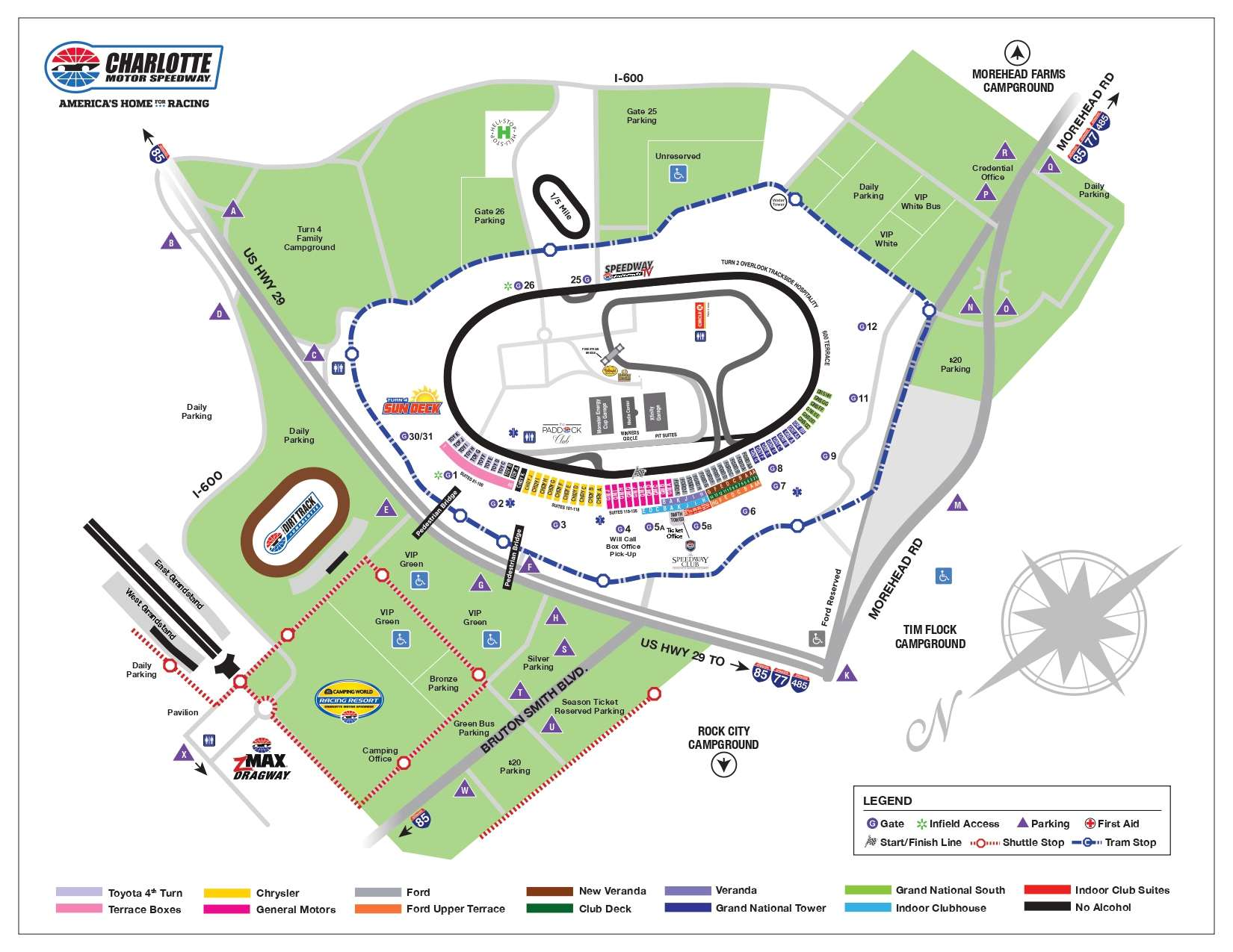 Charlotte Motor Speedway Layout Map to check seats, nearby roads, gates, entry, exits, important facilities, section, transportation, etc.