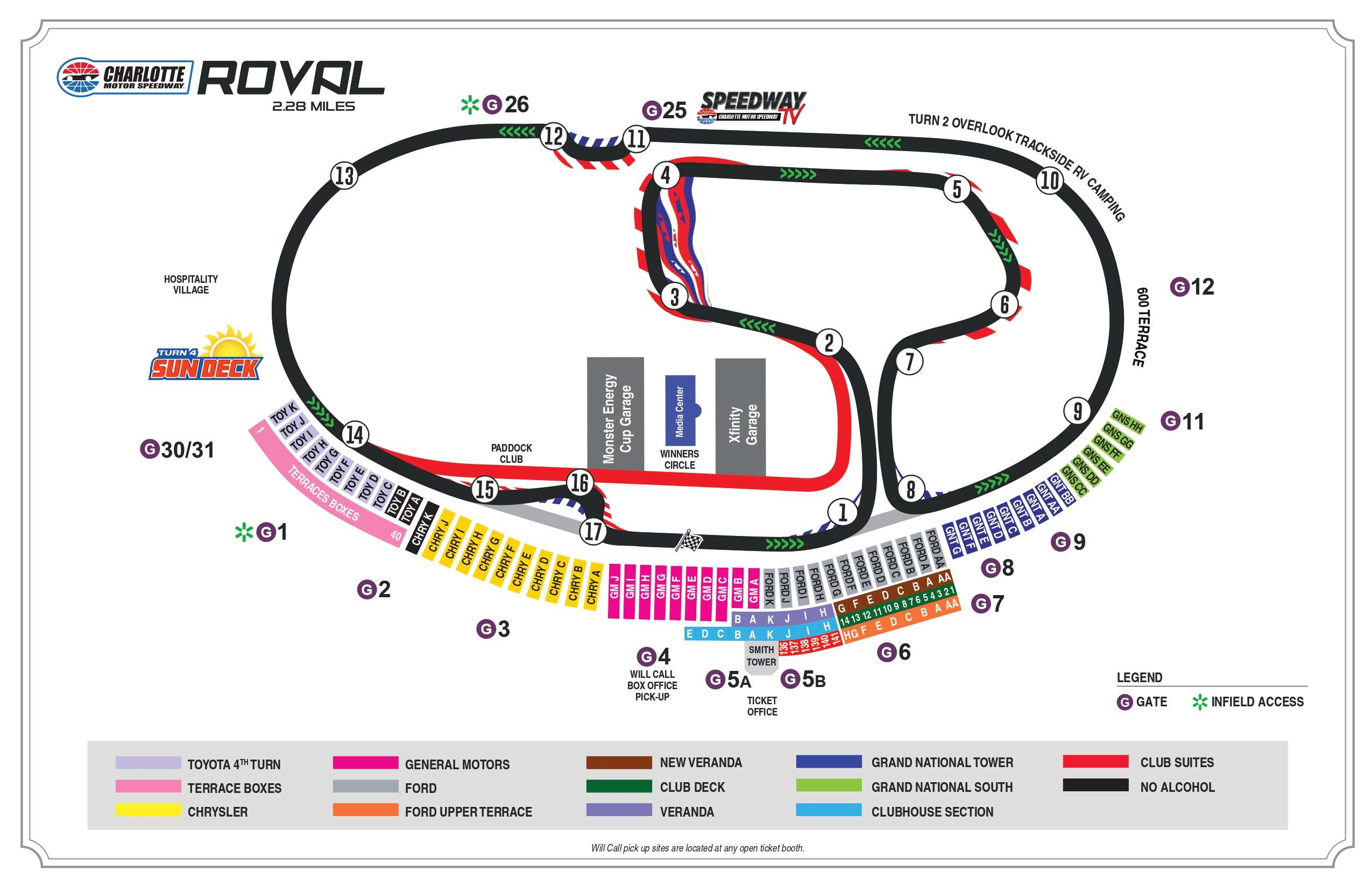Charlotte Motor Speedway Roval Seating Chart displays, seats, stands, race track along with Veranda, decks, all turns, entry, exit, gates.