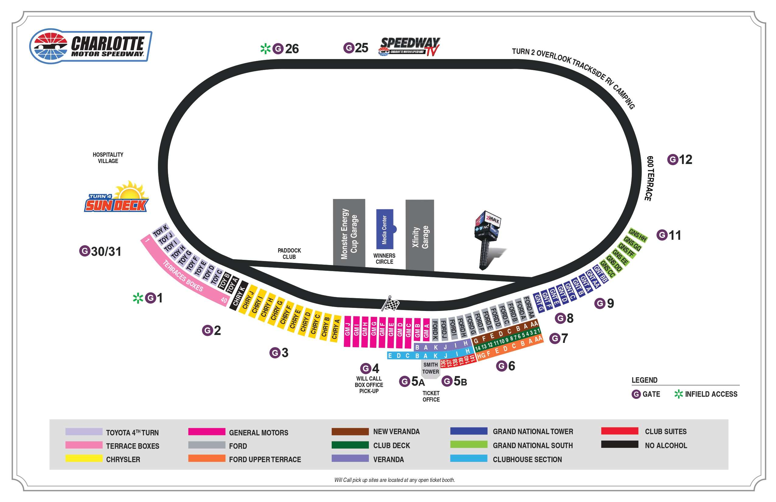 Charlotte Motor Speedway Seating Chart diplays all seats, camping location, towers, ticket office, veranda, terrace boxes, deck, hospitality village, start finish line, turns, etc.