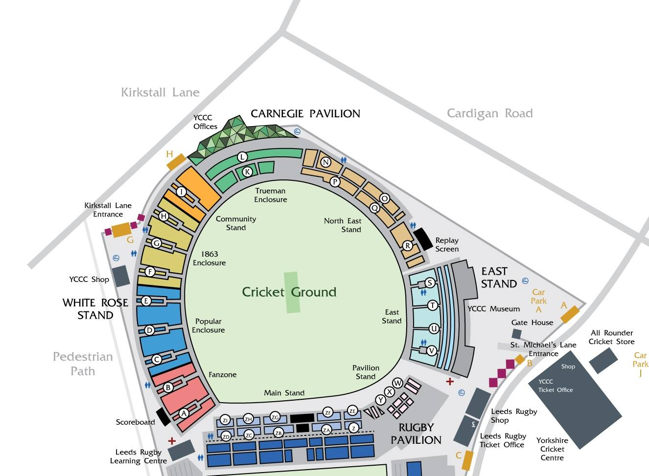 Headingley Leeds Cricket Ground Seating Plan with stands, ticket office, cark park, entry and exit gates