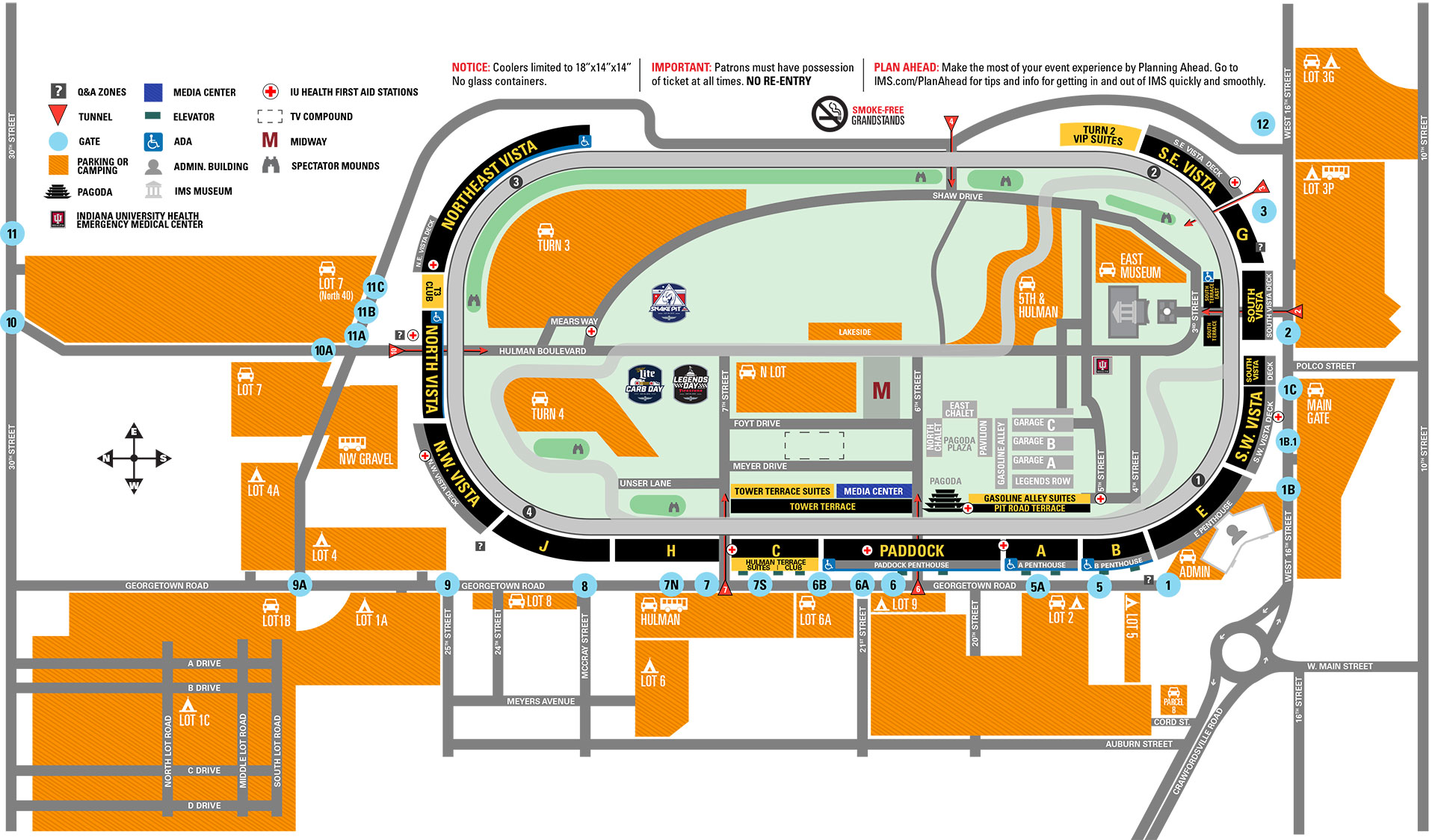 Indianapolis Motor Speedway Seating Chart with all seat, rows, paddock, parking, pit stops